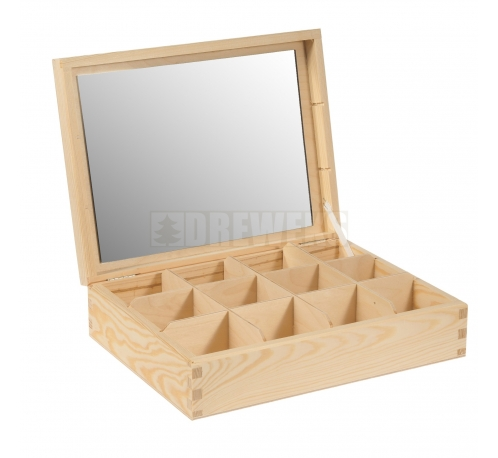 Box / container with mirror - 12 compartments
