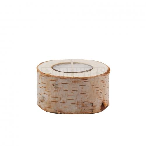 Wooden birch candlestick 4cm