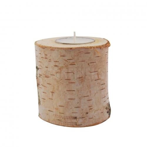 Wooden birch candlestick 8 cm