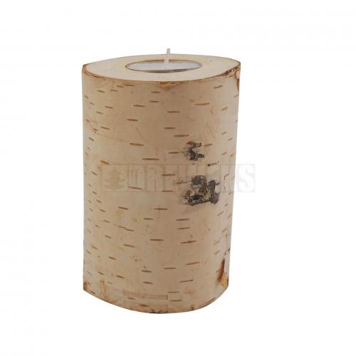 Wooden birch candlestick 12 cm