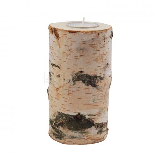 Wooden birch candlestick 15cm