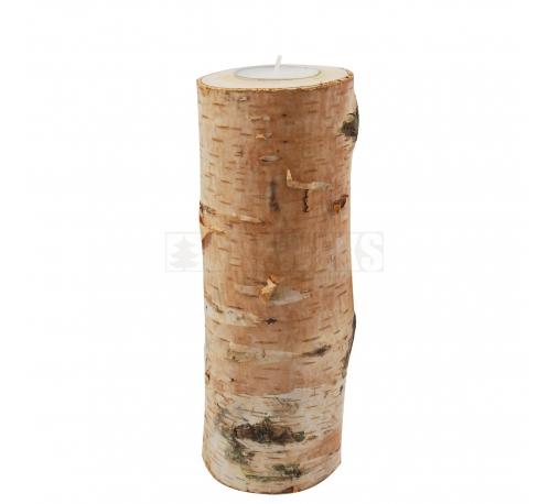 Wooden birch candlestick 20 cm