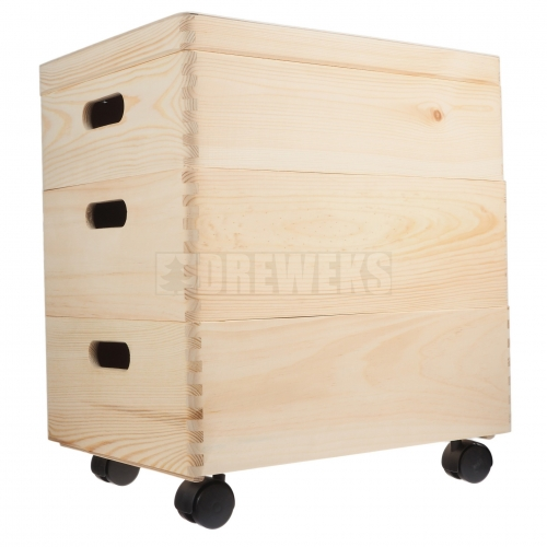 Storage box set on wheels / trio- medium