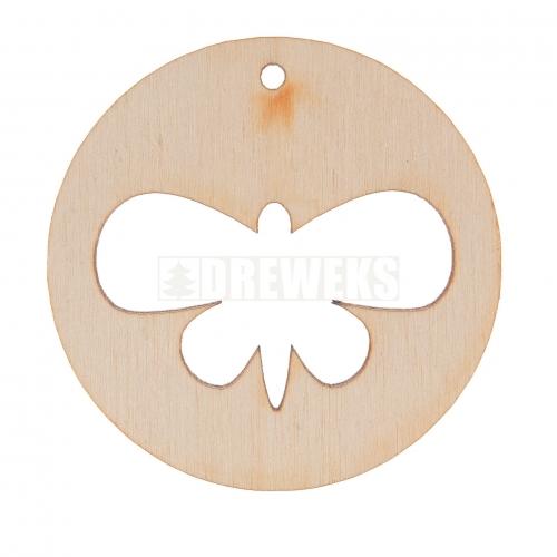 Kolczyk okrągły motyl sklejka BAZA
