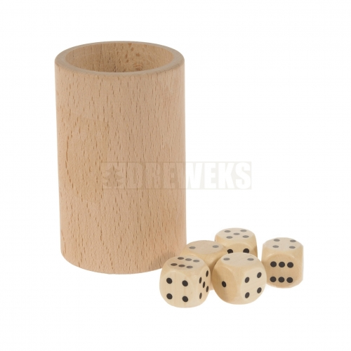 Dice - 5 pcs with mug