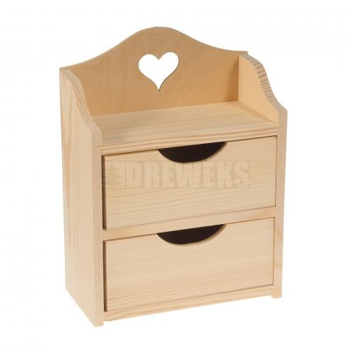 Regał z dwoma szufladkami, serce